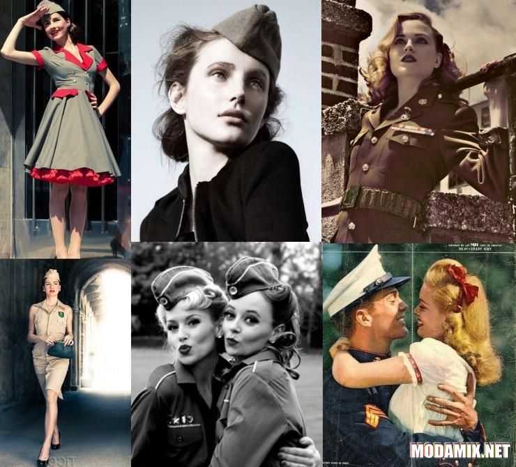 Женщина полсевоенного времени в стиле милитари