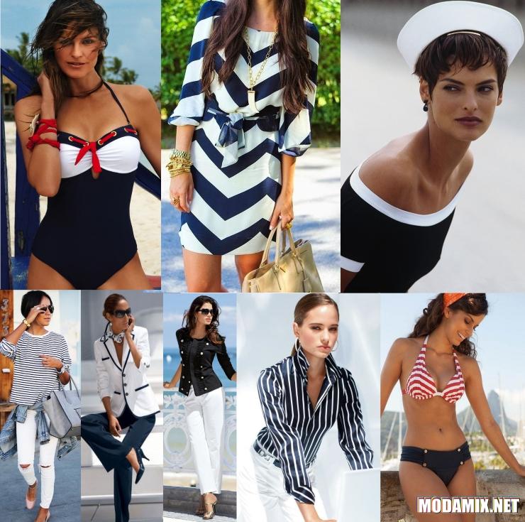 Брюнетки в одежде морского стиля