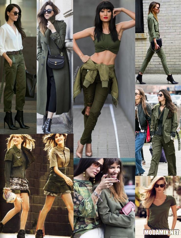 Одежда в стиле милитари на улице