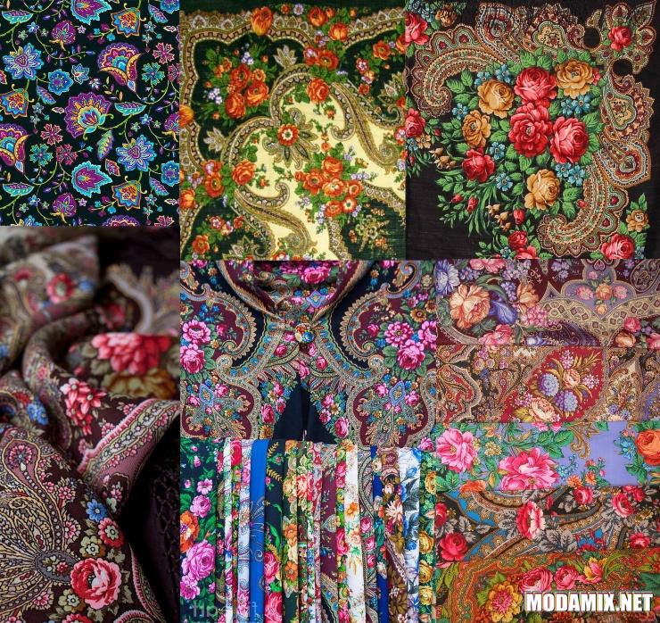 2017 год модные шали в русском стиле