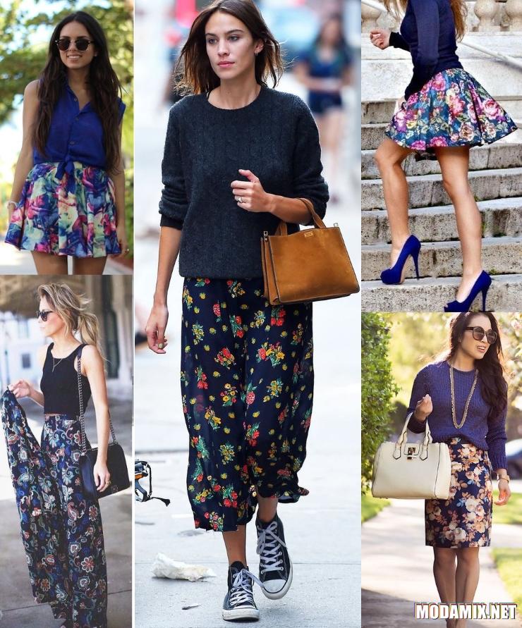 Синие юбки с цветочным принтом