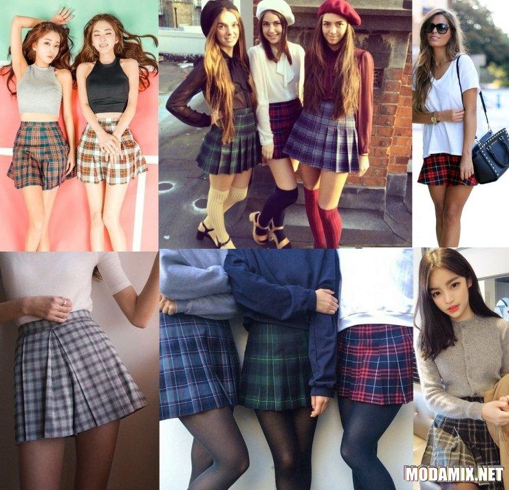 С чем носить клетчатую юбку молодым девушкам?