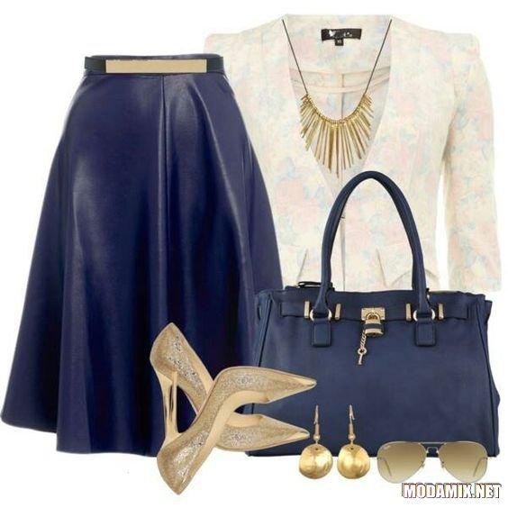 С чем носить кожаную синюю юбку?