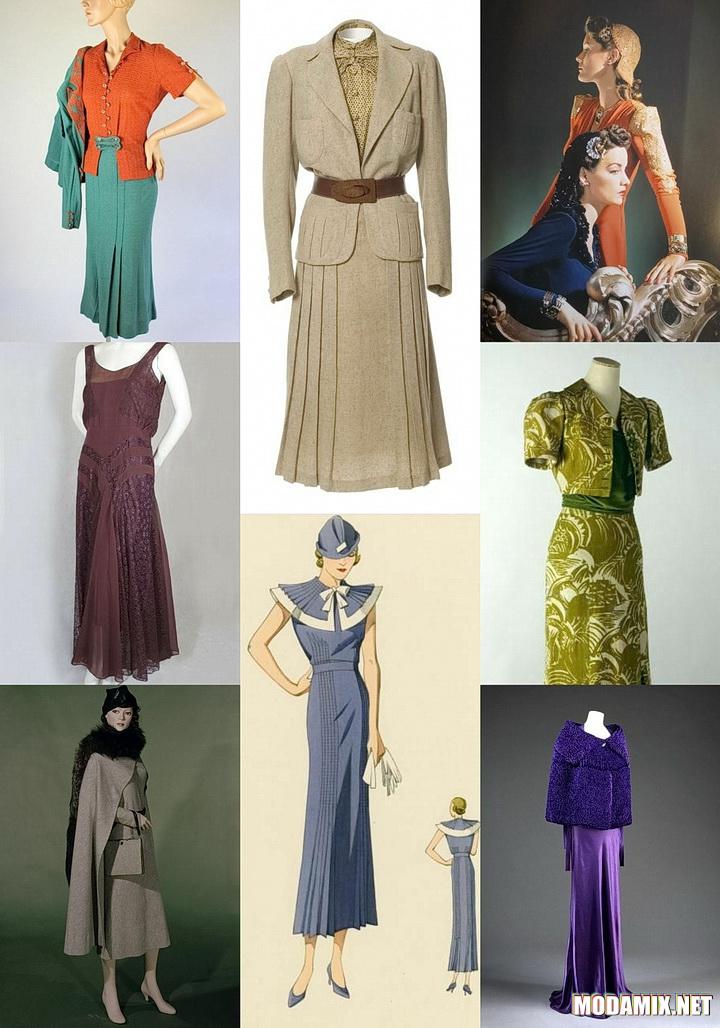 Платья и юбки периода 30-х годво ХХ столетия