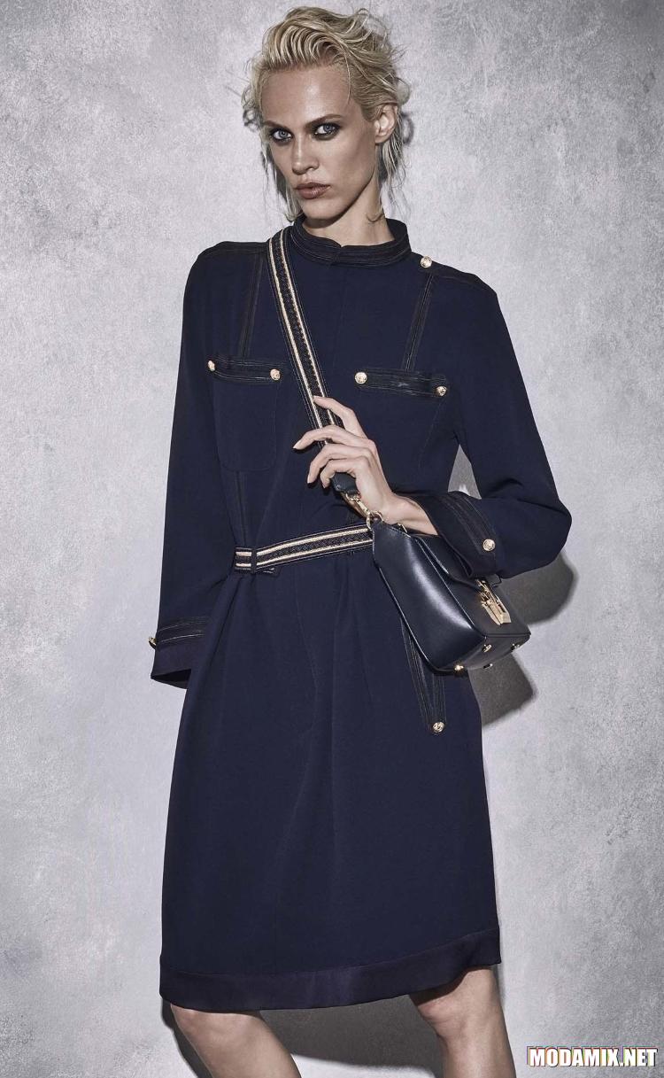 Темно-синий оттенок одежды в стиле милитраи 2017