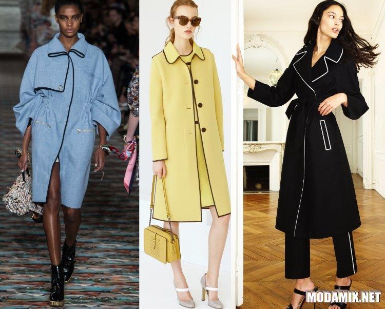 Модные пальто 2017 весна с окантовкой