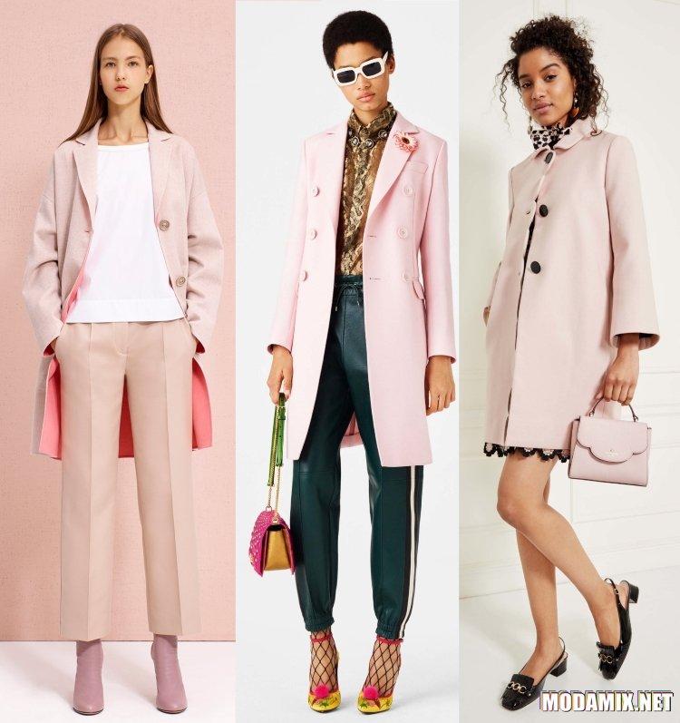 Женские пальто весна 2017 в розовой пастели