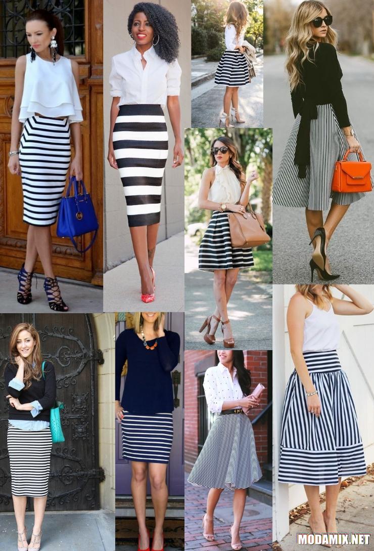 С чем носить юбку в черно-белую полоску?