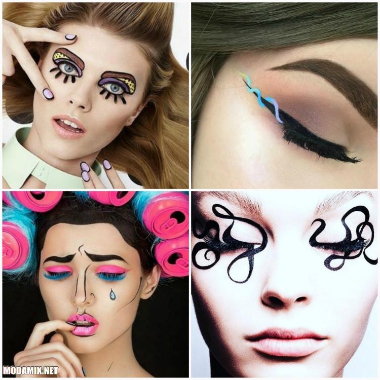 Модный макияж  фото геометрических рисунков на коже