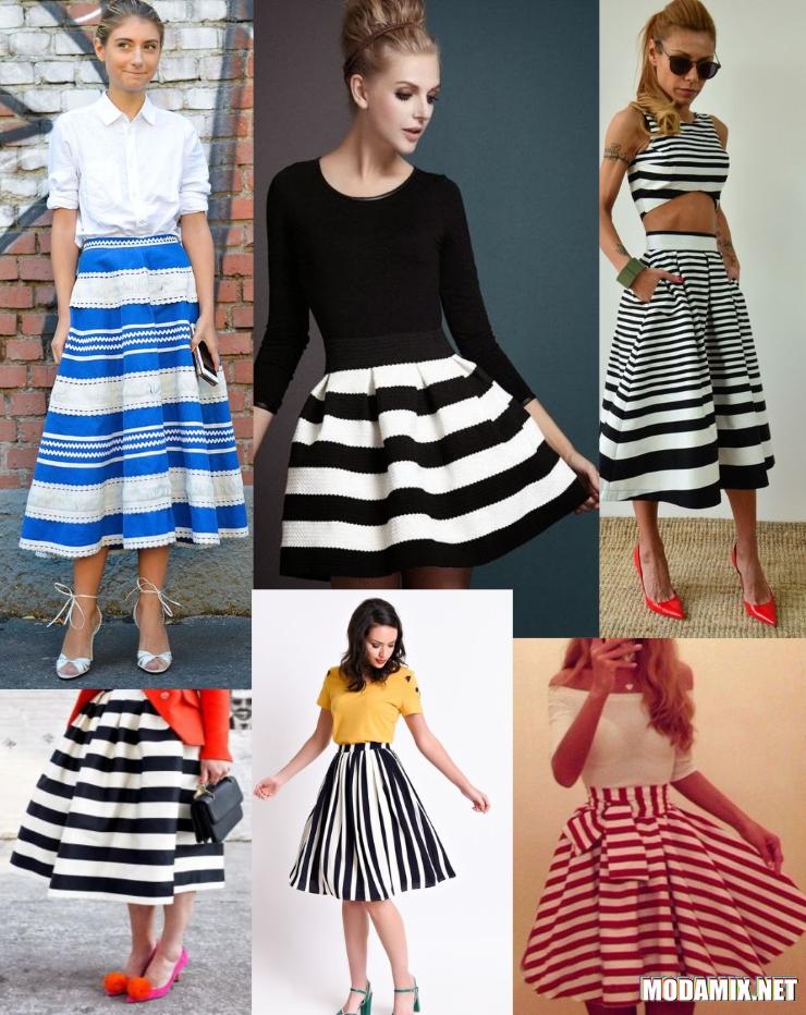 С чем носить юбку солнце в полоску?