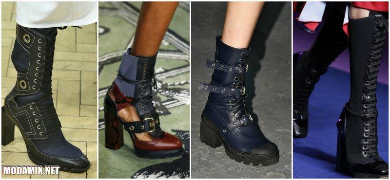 Модные сапоги 2017 на шнуровке в стиле милитари