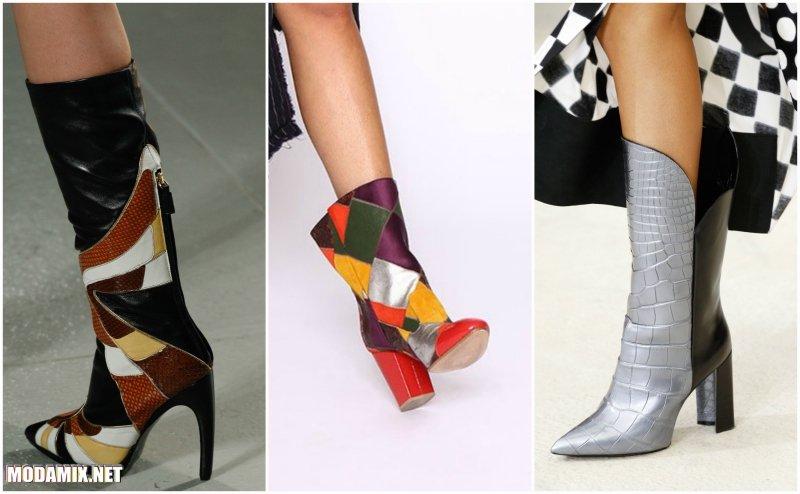 Модные сапоги Весна 2017 в стиле пэтчворк
