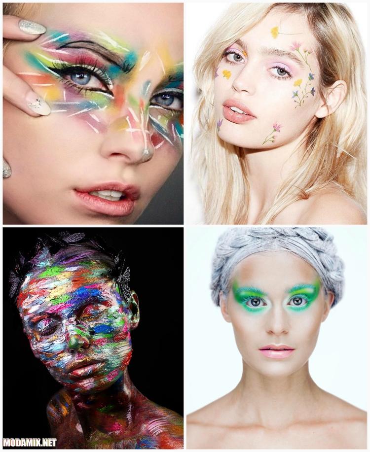 Разноцветный макияж  фото удачных примеров