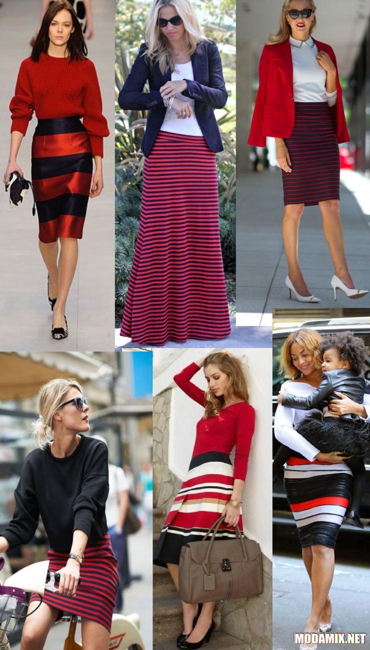 С чем носить юбку в черно-красную полоску