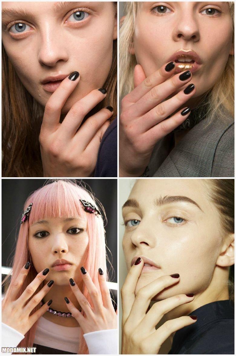 Черный лак для ногтей в моде весной 2017
