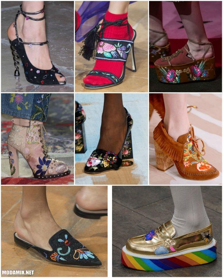 Обувь с цветочной вышивкой