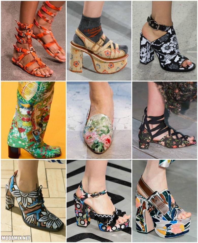 Обувь с цветочным принтом 2017