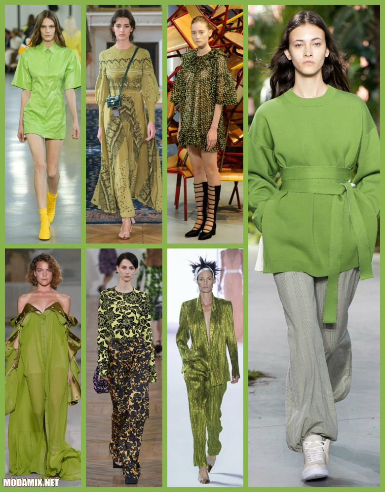 Greenery оттенок модной женской одежды зеленого цвета