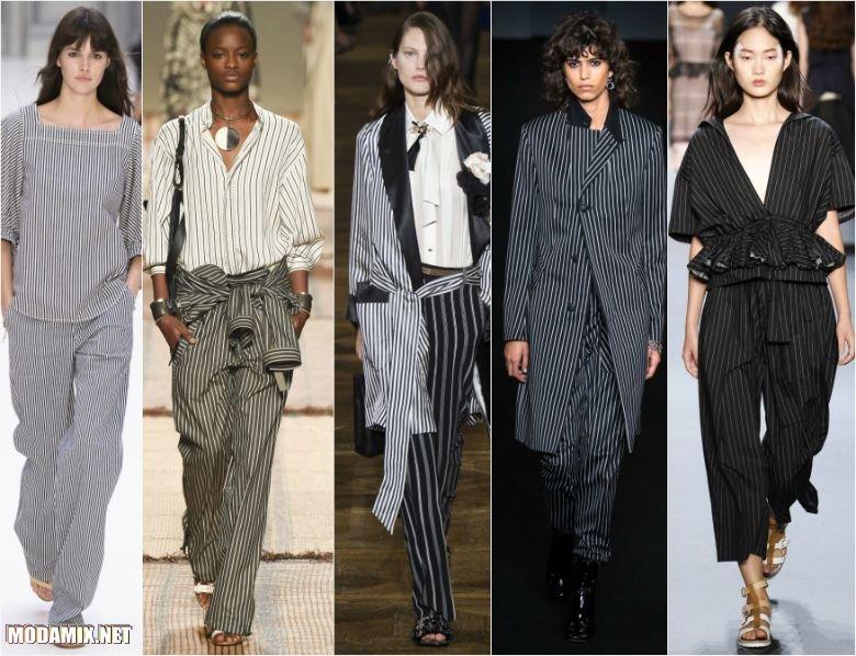 Черно-белая вертикальная тонкая полоска на одежде