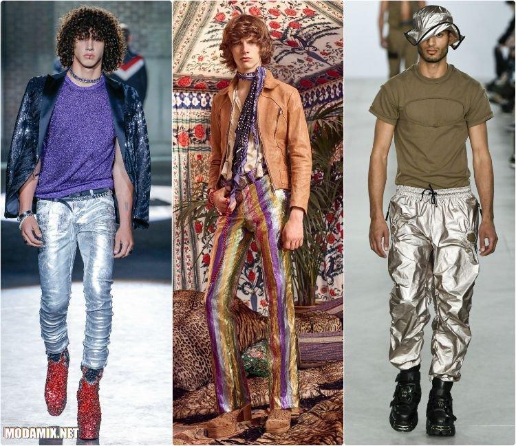 Мужские брюки из металлизированной ткани