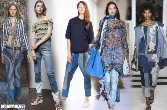 Женские модные джинсы из разноцветных кусочков
