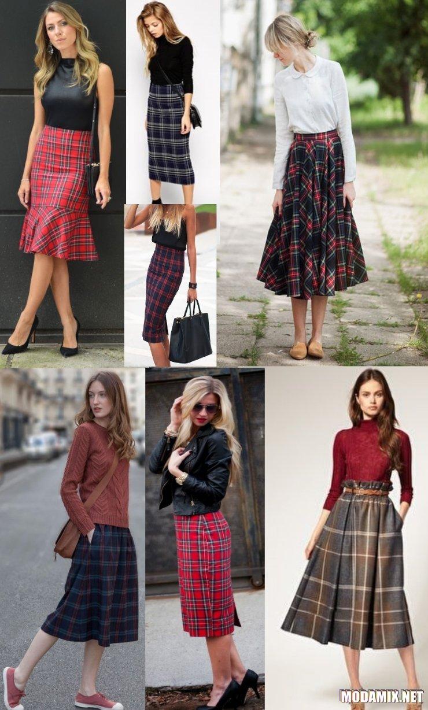 С чем носить юбку в клетку миди длины?
