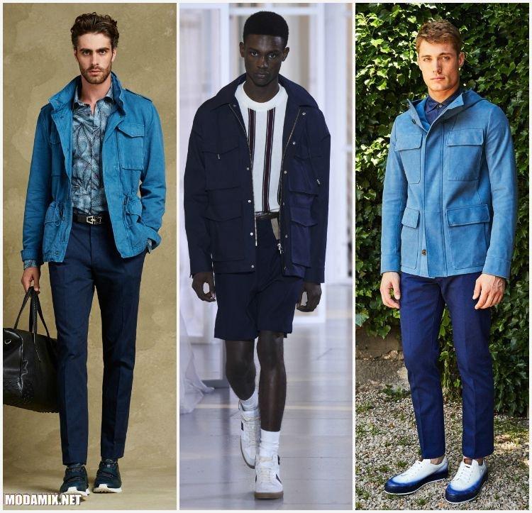 Мужские куртки сафари синего цвета