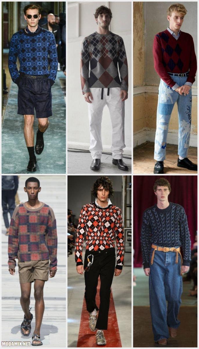 Геометрический принт на мужских свитерах 2017 года