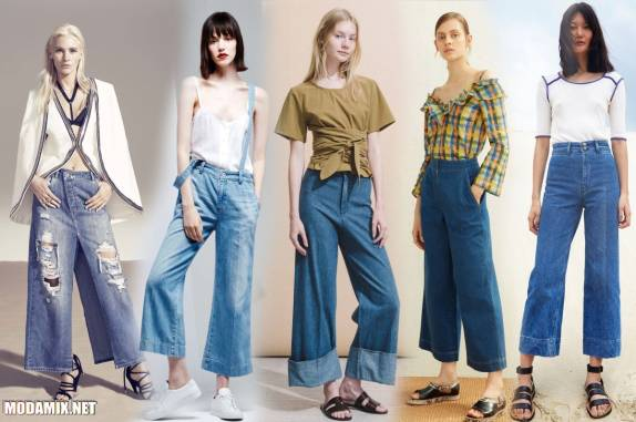 Укороченные джинсы кюлоты из весенне-летних коллекций 2017 года