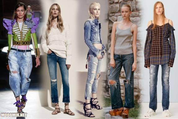 Женские джинсы с рваными отверстиями