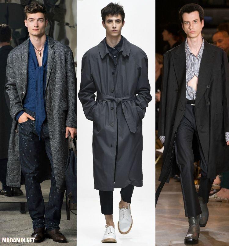 Фото темно-серых мужских пальто из весенних коллекций 2017 года