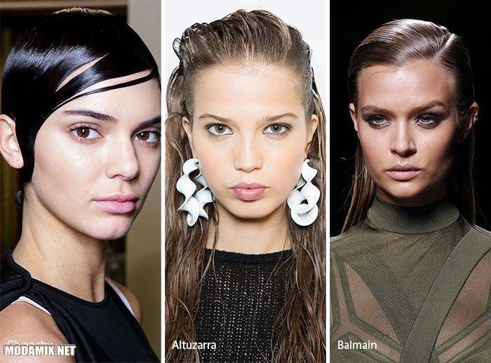 Фото модных причесок 2017 - эффект мокрых волос