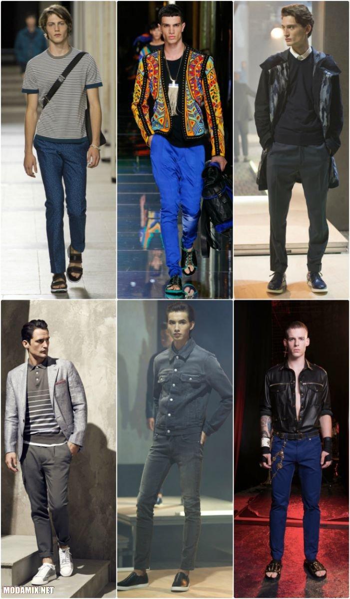 Зауженные к низу мужские брюки 2017 года