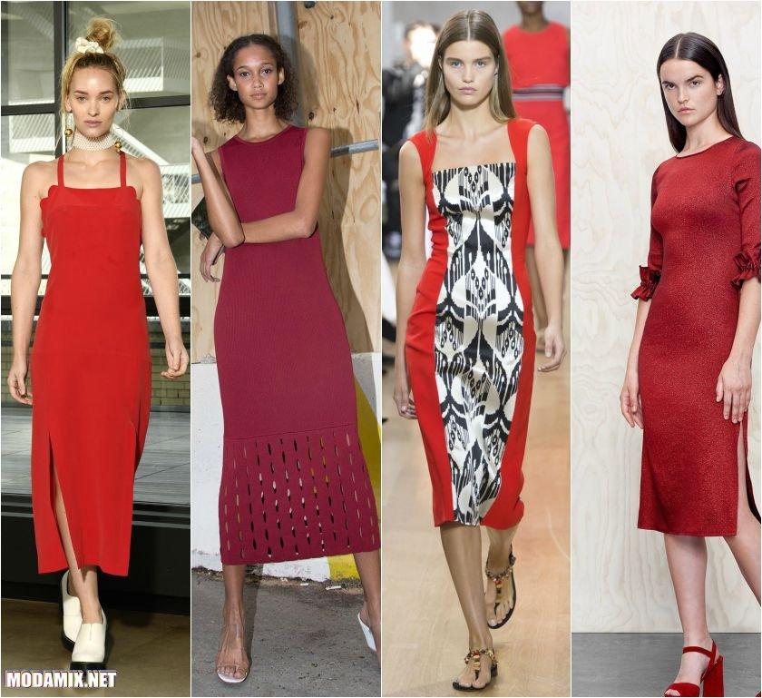 Красные платья футляр 2017