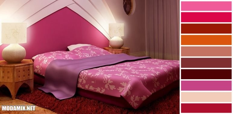PANTONE 17-2034 Pink Yarrow в интерьере спальни