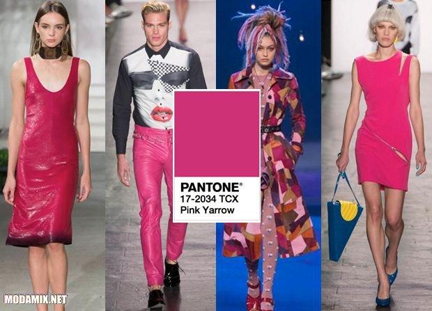 PANTONE 17-2034 Pink Yarrow в женской и мужской моде