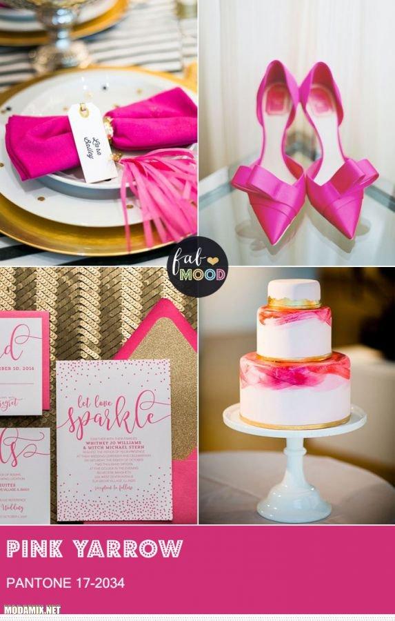 PANTONE 17-2034 Pink Yarrow в свадебных деталях