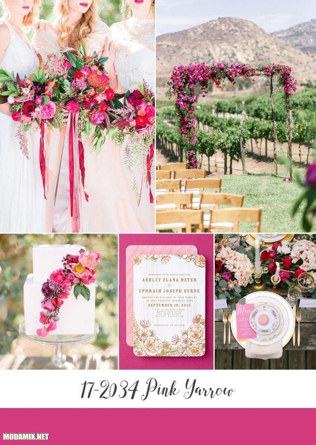 PANTONE 17-2034 Pink Yarrow в свадебном дизайне