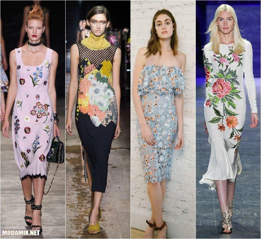 Модные платья футляр с цветами