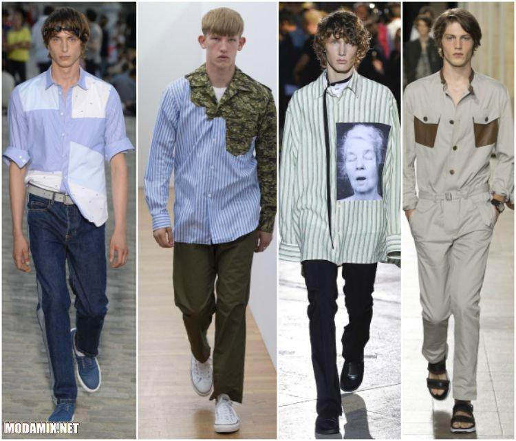 Модные рубашки с контрастными вставками