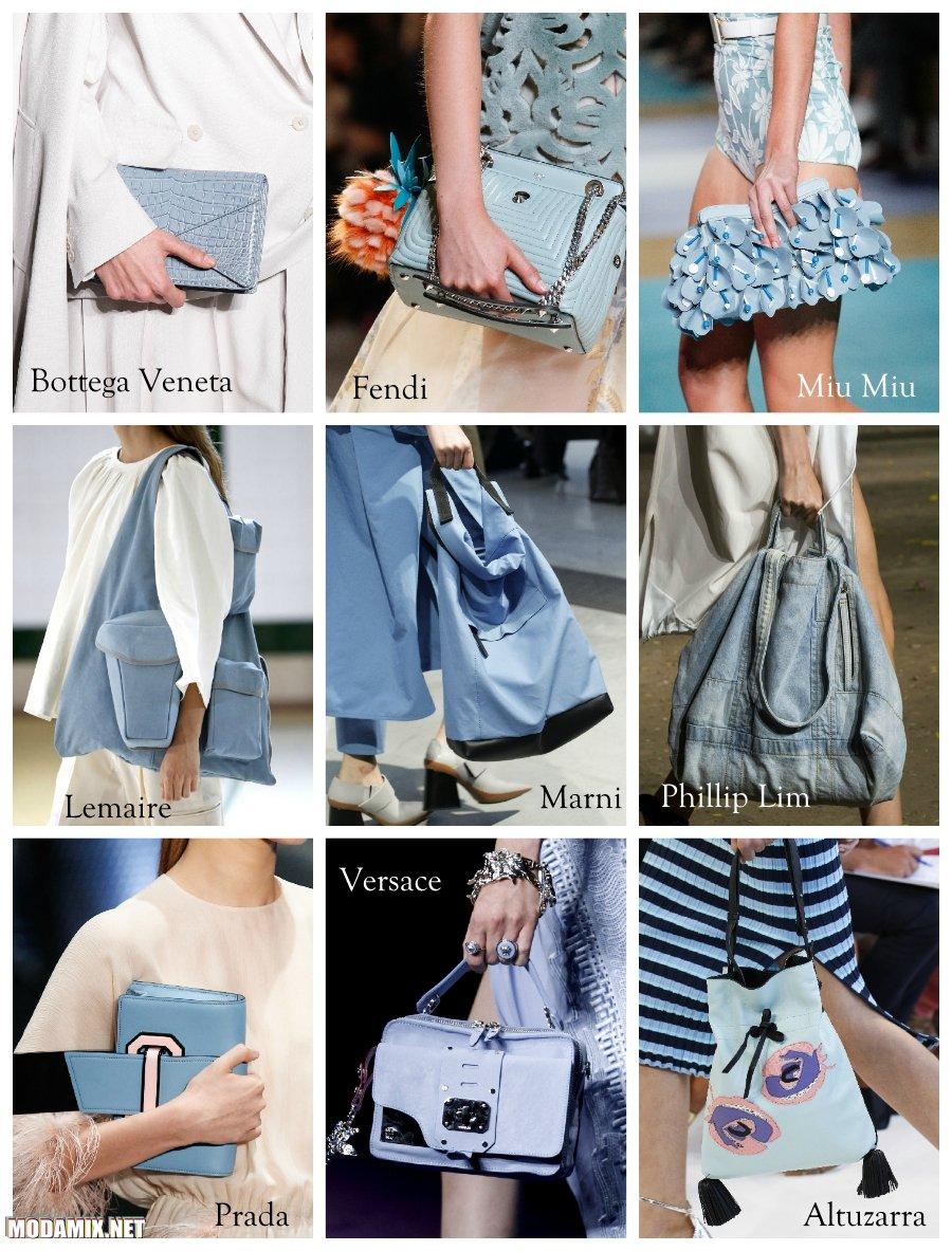 Голубой цвет сумок 2017 года