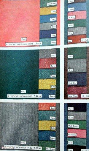 Цвета платьев 40х и примеры тканей