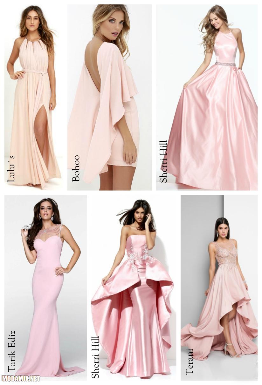 Выпускные платья 2017 бледно-розового цвета