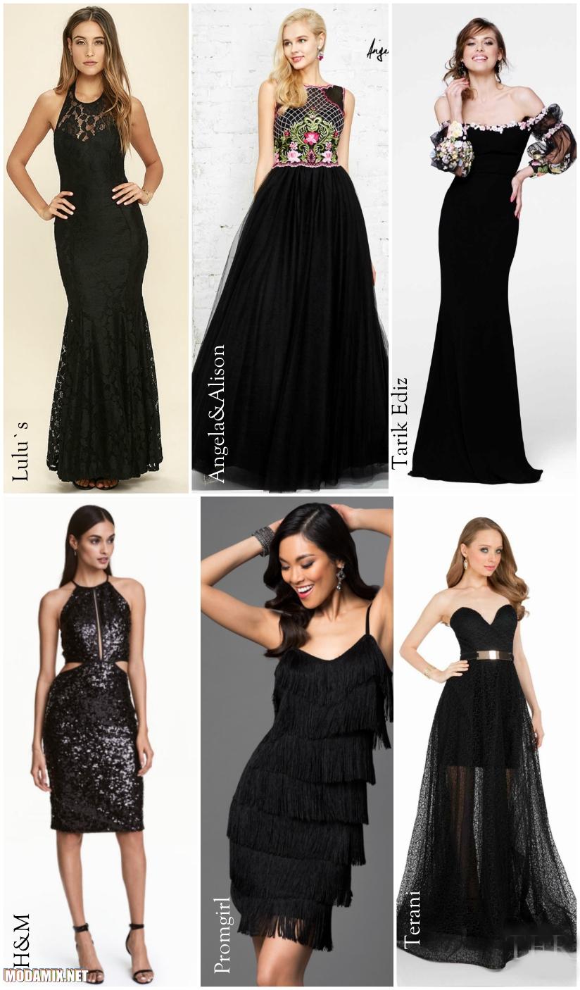 Платья на выпускной черного цвета