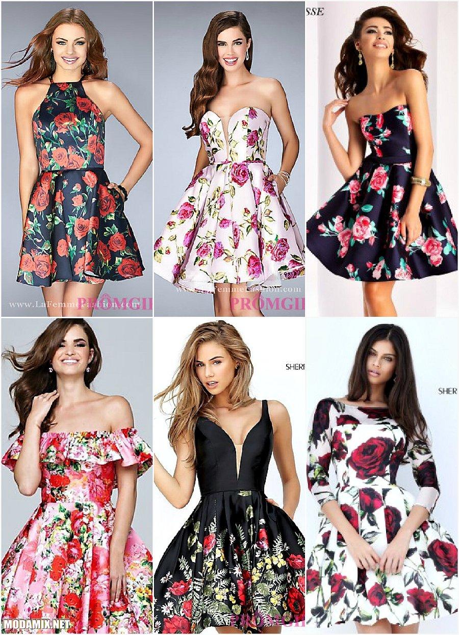 Выпускные платья короткой длины с цветочным принтом