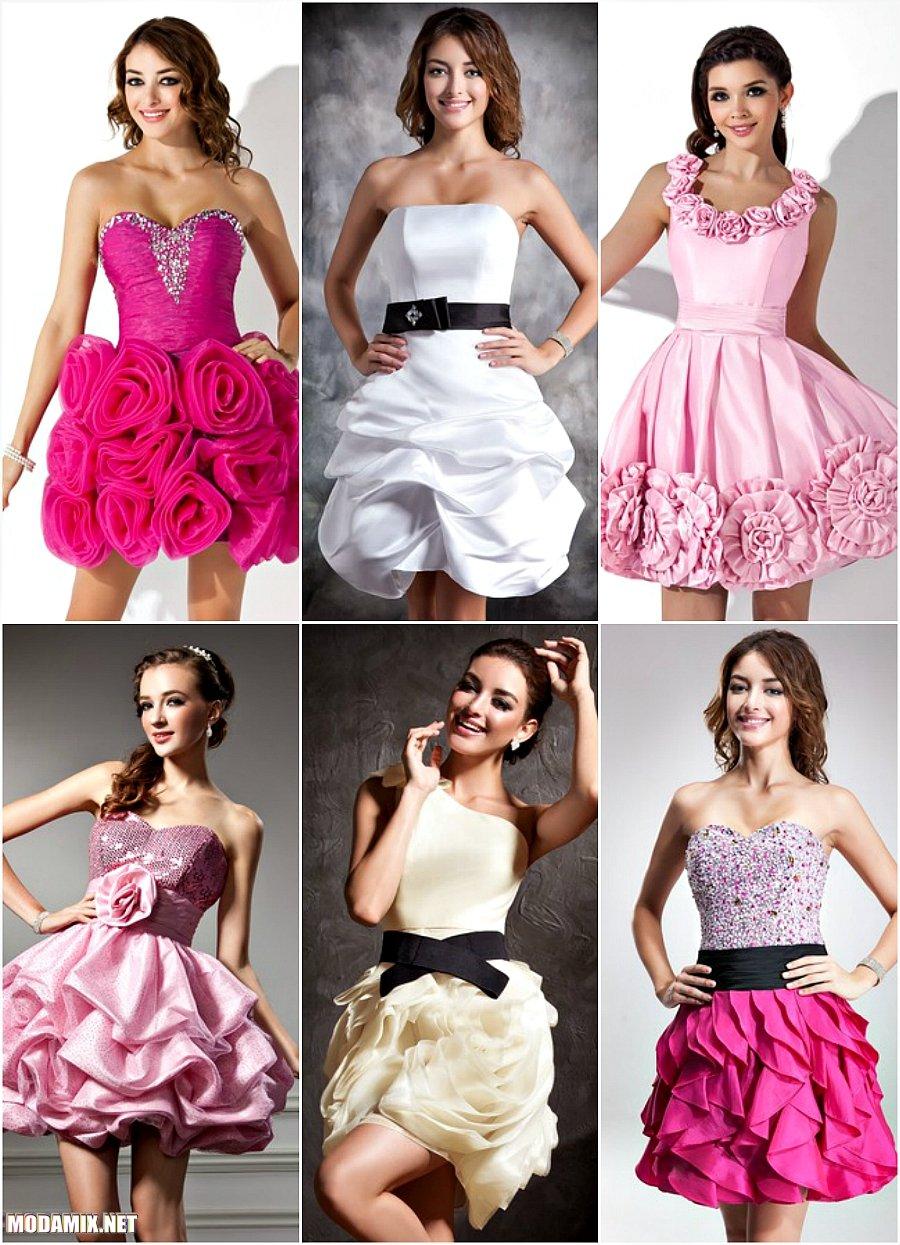 Короткие выпускные платья 2017 с цветочным принтом