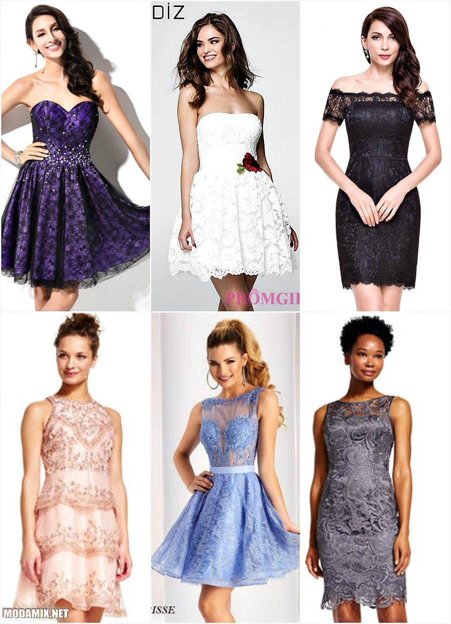 Кружевные короткие платья на выпускной 2017