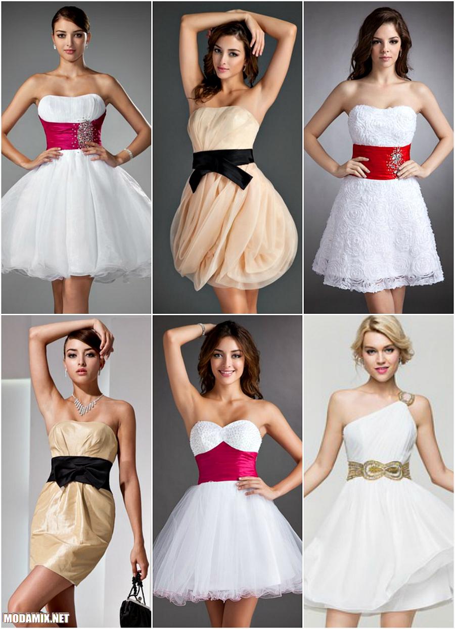 Фото коротких выпускных платьев с поясом контрастного оттенка
