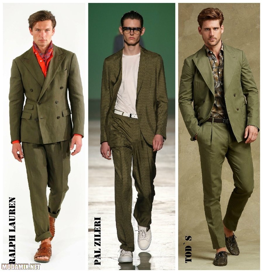 Модные мужские костюмы 2017 фото моделей оттенка хаки