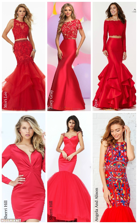 Красные платья на выпускной 2017 года